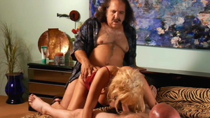 Sunset Thomas together with Ron Jeremy raw ramming hard