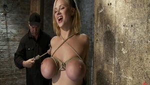 Large boobs blonde babe Katie Morgan fetish punishment tied up