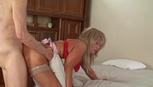 Blonde in high heels plowed by big cock husband