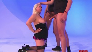 Chubby shaved german chick in heels rimming