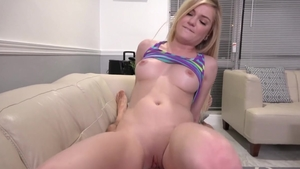 Swallow starring small tits blonde babe