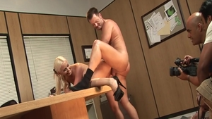 Hot girl Brooke Haven rough doggy sex during interview in HD