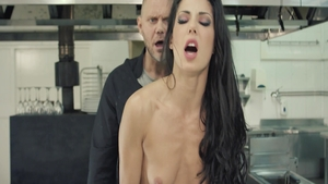 Alexa Tomas in sexy lingerie raw cooking in the kitchen