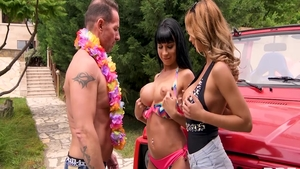 Valentina Ricci together with Ennio Guardi threesome outdoors