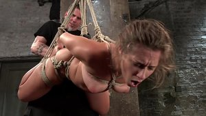 Hogtied accompanied by big butt teen chick Cassidy Klein
