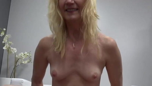 Very small tits granny raw sucking cock at castings