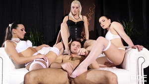 Classy pornstar loves group sex in sexy lingerie