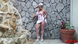 Doctor Cali Carter wearing fishnets cum in mouth