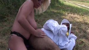 Super sexy mistress pussy eating outdoors