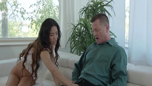 Hard slamming accompanied by hot teen chick Maya Bijou