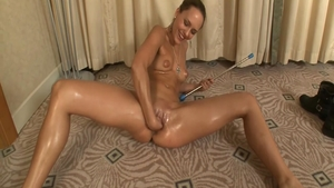 Tanned supermodel helps with nailed rough in HD