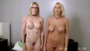 Hairy & large boobs blonde babe Cory Chase POV threesome