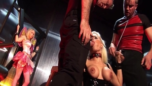 Erotic huge boobs whore rough group sex in dungeon