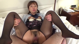 Asian in sexy stockings threesome in HD