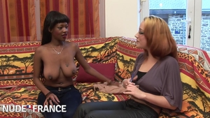 Nailing in company with huge boobs ebony brunette