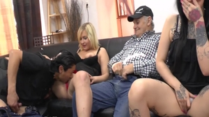 Threesome starring charming french bitch