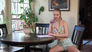 Blonde hair Lily Rader playing with sex toys