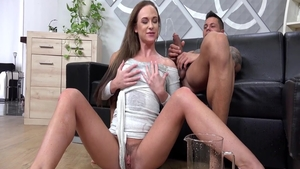 Squirts sex tape between classy rough Cristal Caitlin