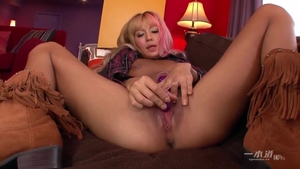 Hairy blonde hair masturbation with large dildo