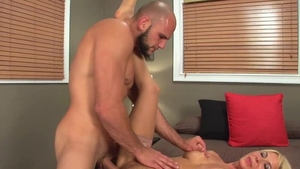 Good fuck in company with hairy pussy blonde haired
