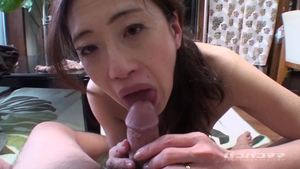 Creampie with hairy japanese married woman