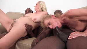 Fetish cumshot alongside young granny