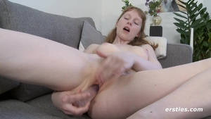 Solo small boobs & petite redhead masturbation