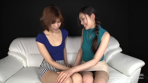 Asian brunette helps with nailing in HD