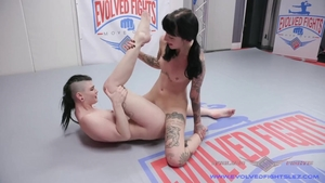 Lesbo pussy eating at the gym