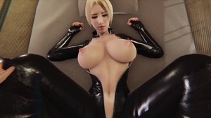 Large boobs in latex pussy fuck 3d
