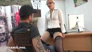 Very hot french amateur licking ass in office