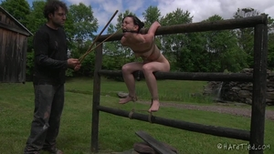 Small tits girl has a thing for fetish bondage outdoors