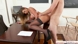 Huge boobs teacher Brooklyn Chase in stockings hard HD