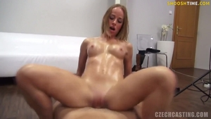 Czech blonde haired really enjoys oil loud sex at castings