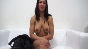 At the castings next to super cute huge tits czech brunette