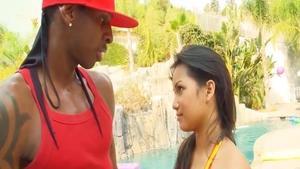 Interracial bang next to lustful asian pornstar Violet Monroe