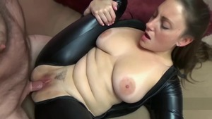 Black Cat along with huge tits Melanie Hicks
